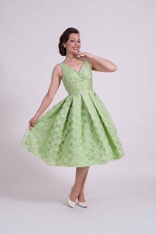'Doris' Occasion Dress - Green/Gold Organza