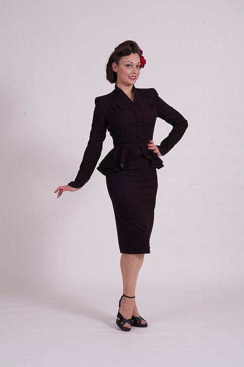 'Dita' Double Peplum Jacket. Black w red pinstripe