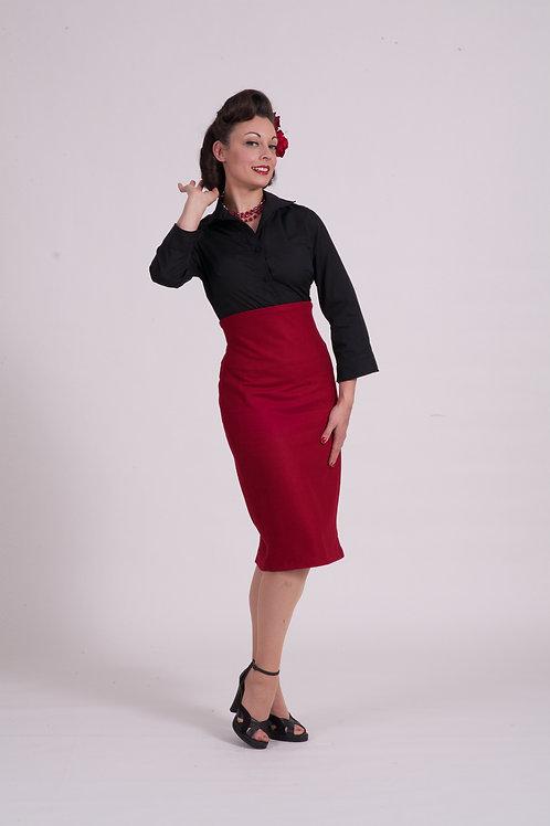 'Dita' Straight skirt - Red wool