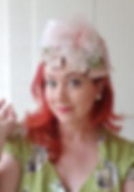 Hat 46. Pink raffia 50s eggshell shaped