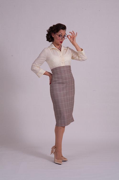 'Dita' Straight skirt - Office Plaid