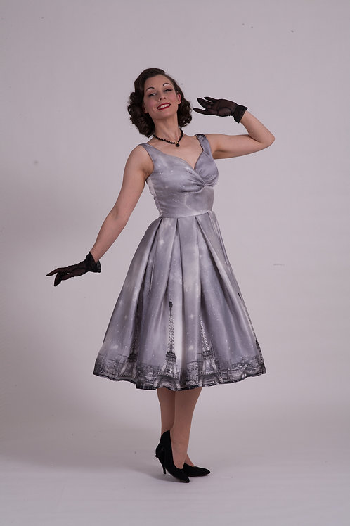 'Doris' Day Dress - Grey Paris Silk