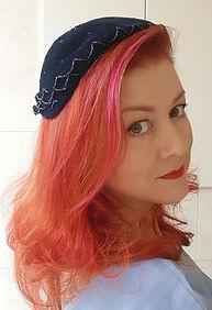 Hat 54. Navy velvet cap with stunning be