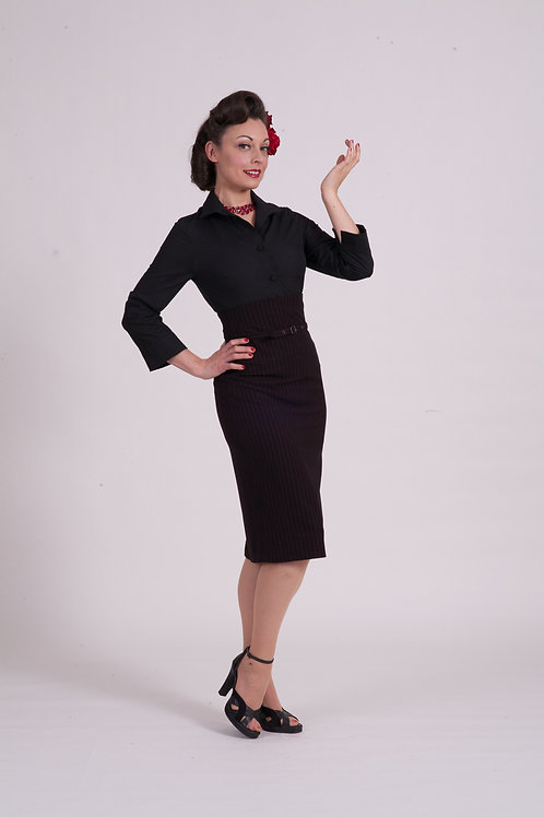 'Dita' Straight skirt - Black w red pinstripe