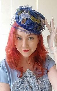 Hat 50. Cobalt velvet flowers n green le