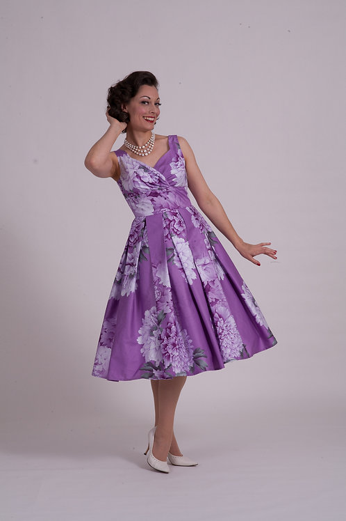'Doris' Day Dress - Purple Peonies