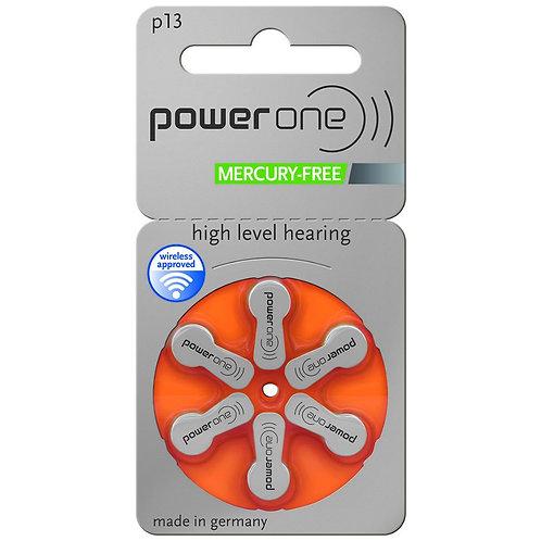 Plaquette de 6 piles auditives POWER ONE - code couleur orange 13 (sans mercure)