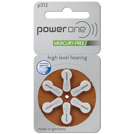 Plaquette de 6 piles auditives POWER ONE - code couleur marron 312 (sans