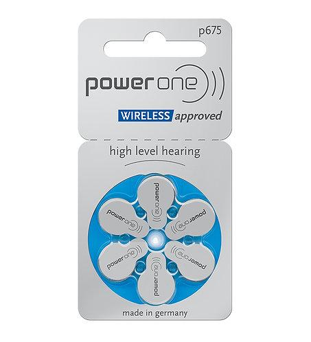 Plaquette de 6 piles auditives POWER ONE - code couleur bleu 675 (0% mercure)