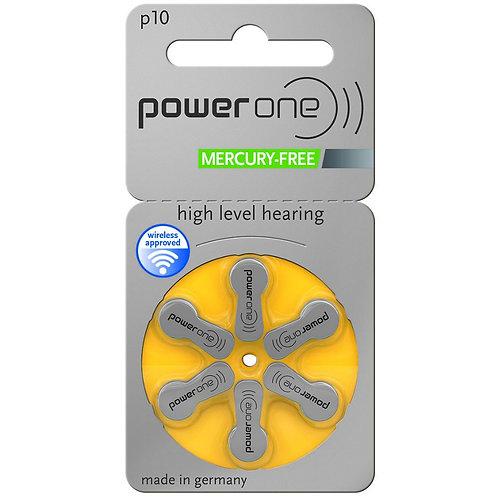 Plaquette de 6 piles auditives POWER ONE - code couleur jaune 10 (sans