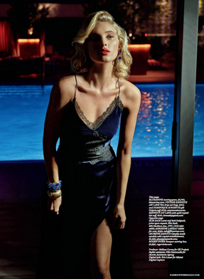 """Dominique Aurientis Gilt Gripoix cuff and the 1960s Kenneth Jay Lane. Featured on Elsa Hosk, in the July 13th issue of The Daily Front Row called """"Noir Soir"""""""
