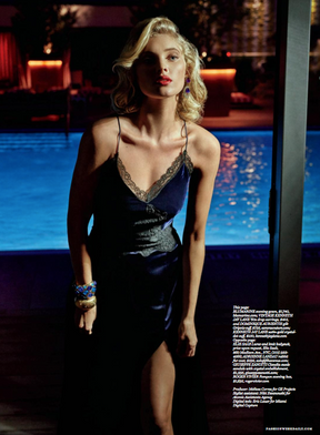 "Dominique Aurientis Gilt Gripoix cuff and the 1960s Kenneth Jay Lane. Featured on Elsa Hosk, in the July 13th issue of The Daily Front Row called ""Noir Soir"""