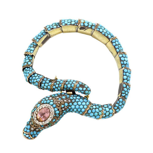 Antique Turquoise and Diamond Snake Bracelet