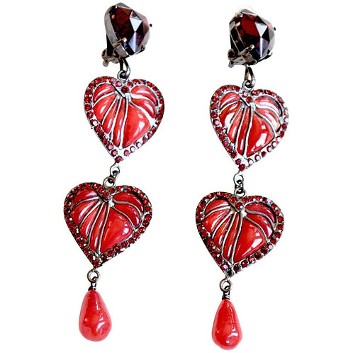 80s Gripoix Lou Lou de La Falaise Heart Earrings