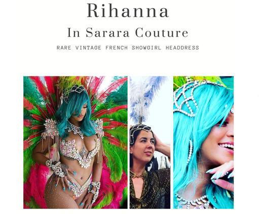 Rihanna in Vintage Sarara Headdress