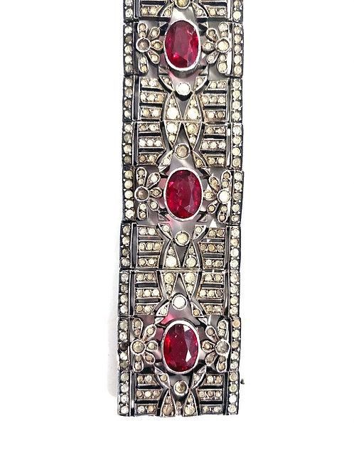 1920s Art Deco Sterling French Paste Bracelet
