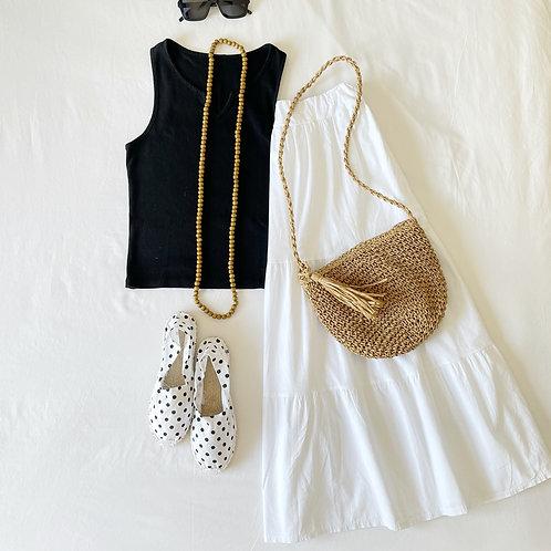 falda volantes blanca