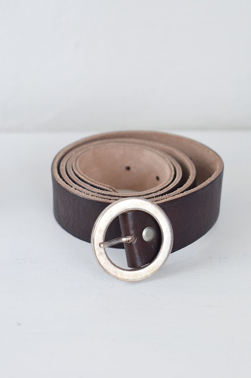 cinturón hebilla redonda marrón