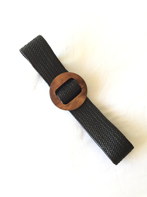 cinturón rafia negro