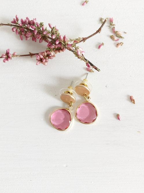 pendientes piedra rosa