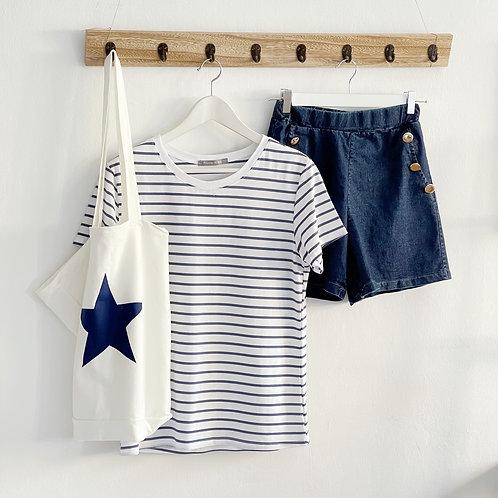 camiseta rayas azul