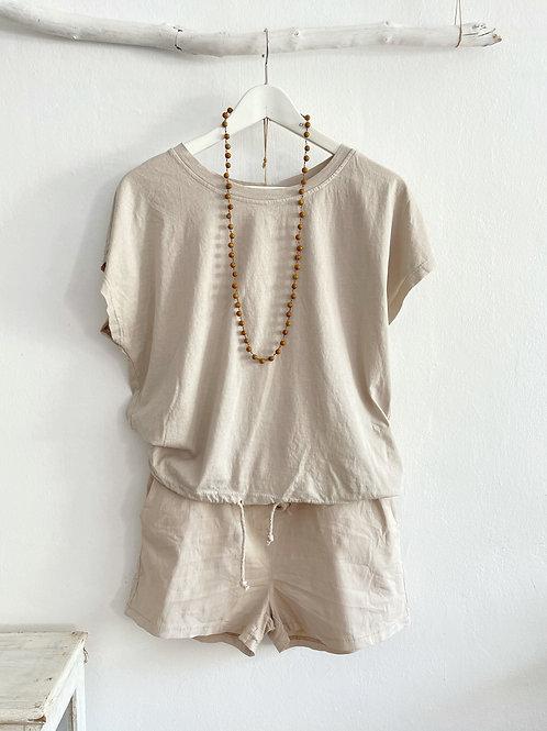 camiseta cordón beige