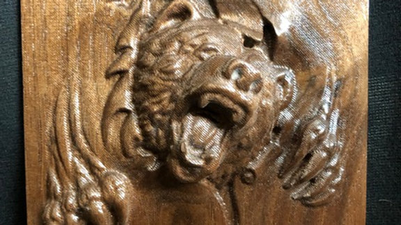Walnut Carving of Angry Bear