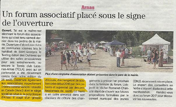 Article du Patriote du Beaujolais 08.09.2016
