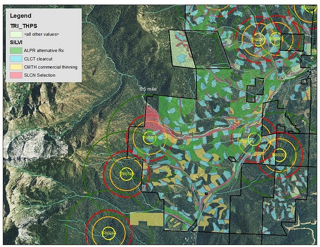 In this map the circles represent owl territory and the squares represent forest management types