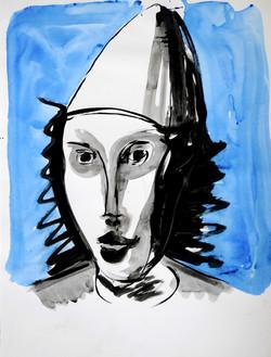 Ilya Grinberg, Autoportrait en clown blanc, 2020.