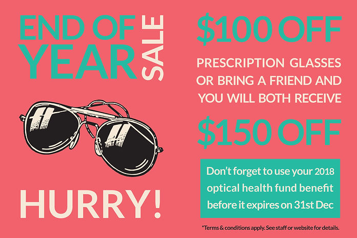 End of year glasses sale