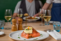 Brioche-toast with home-smoked salmon, poched egg