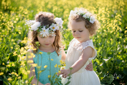 sisters in canola field