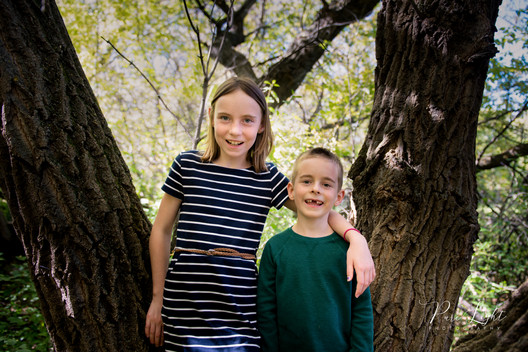 brother and sister in tree