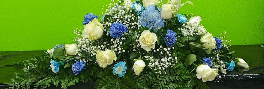 White and blue casket cover