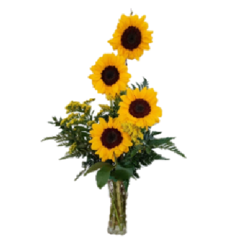 Bright Sunshine, 4 beautiful sunflowers in a crystal vase.