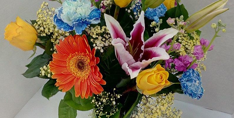yellow, orange, pink, blue and purple flowers