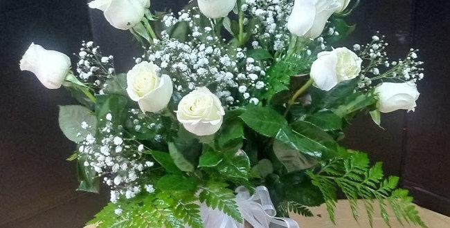 Dozen of white roses, 12 beautiful white roses in a vase.