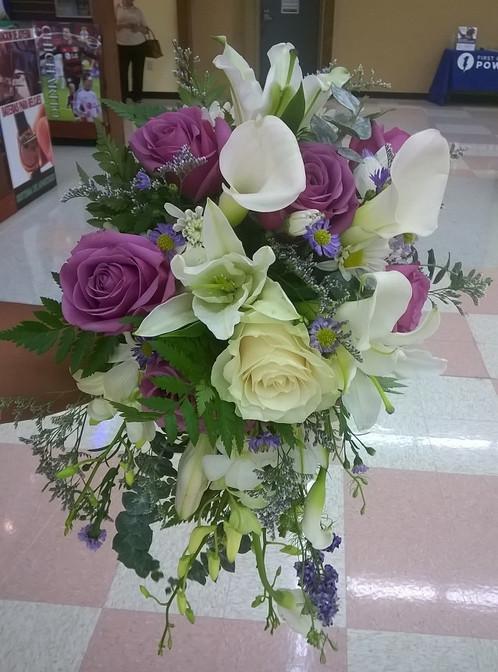 Purple and white wedding bouquet mightylinksfo
