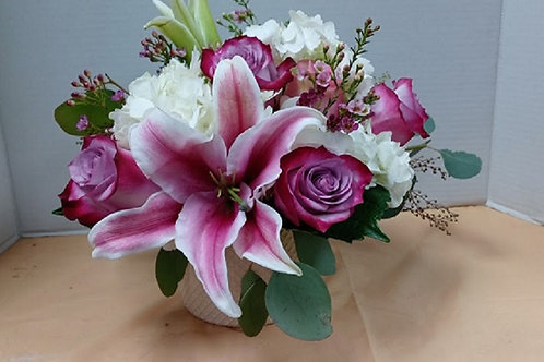 Joy and love, purple roses and other beautiful flowers