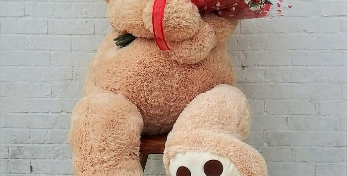 60 Inches Big teddy and 12 roses