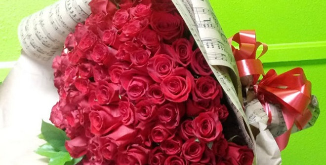 Big bunch or premium roses. 120 red roses wrapped.