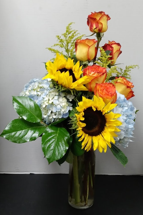 High Magic roses, sunflowers and hydrangeas