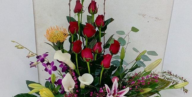 Basket with flowers, elegant design