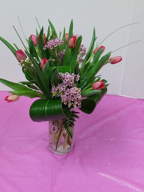 Beautiful Tulips, tulips in crystal vase.