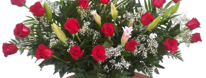 24 Roses in a basket.