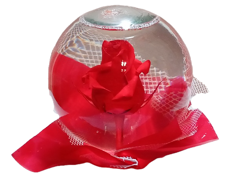 clear crystal ball with a red rose