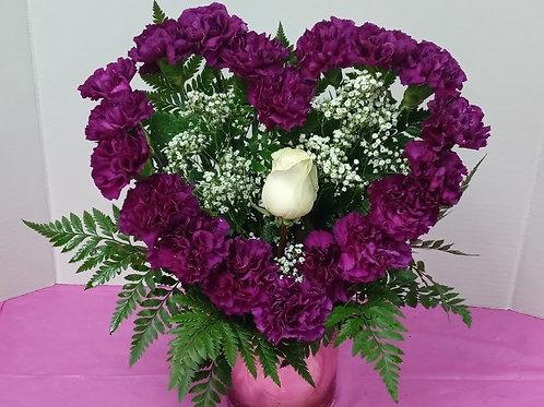 Purple Heart of carnations.
