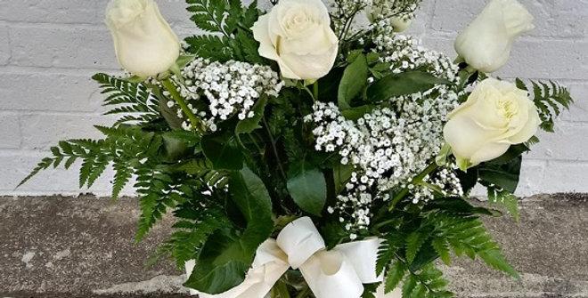 7 White roses in a vase. Medium size design