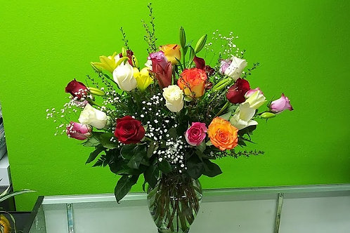 Colorful and elegant, mix colors roses and other beautiful flowers.